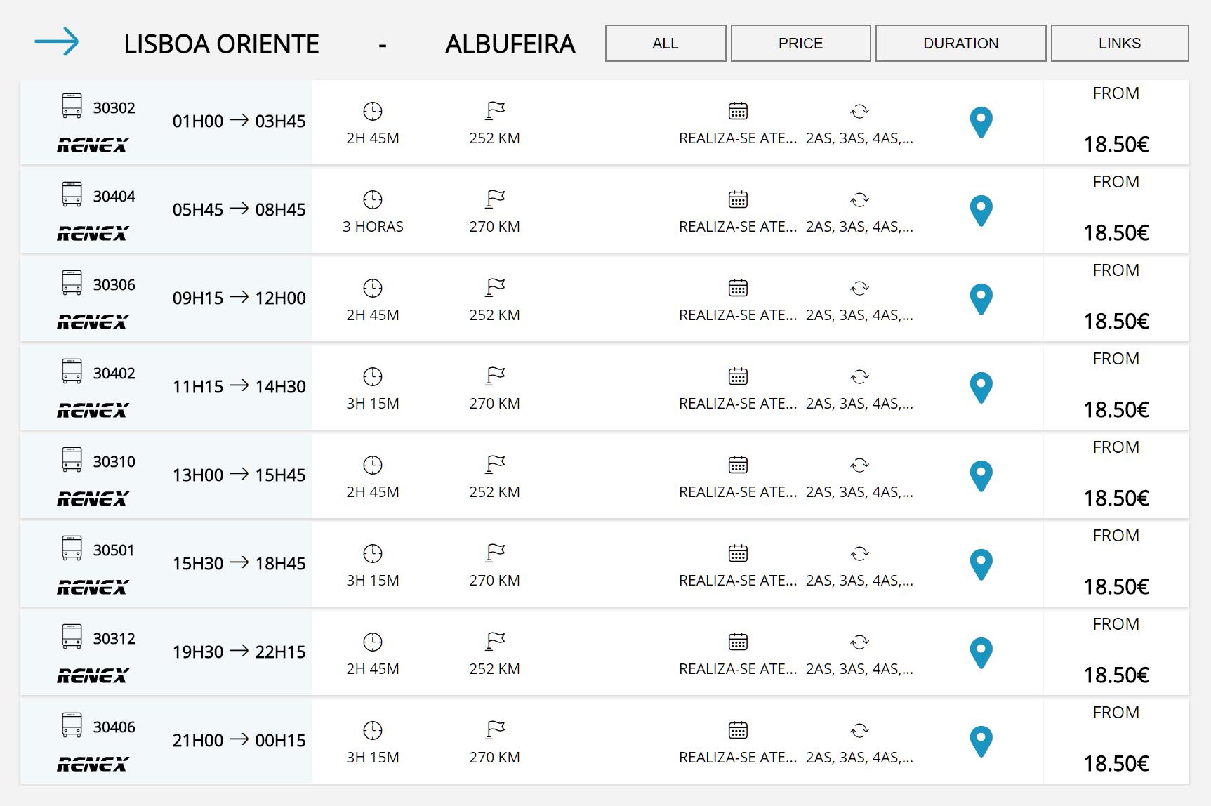 Расписание автобусов Лиссабон Ориенте-Албуфейра