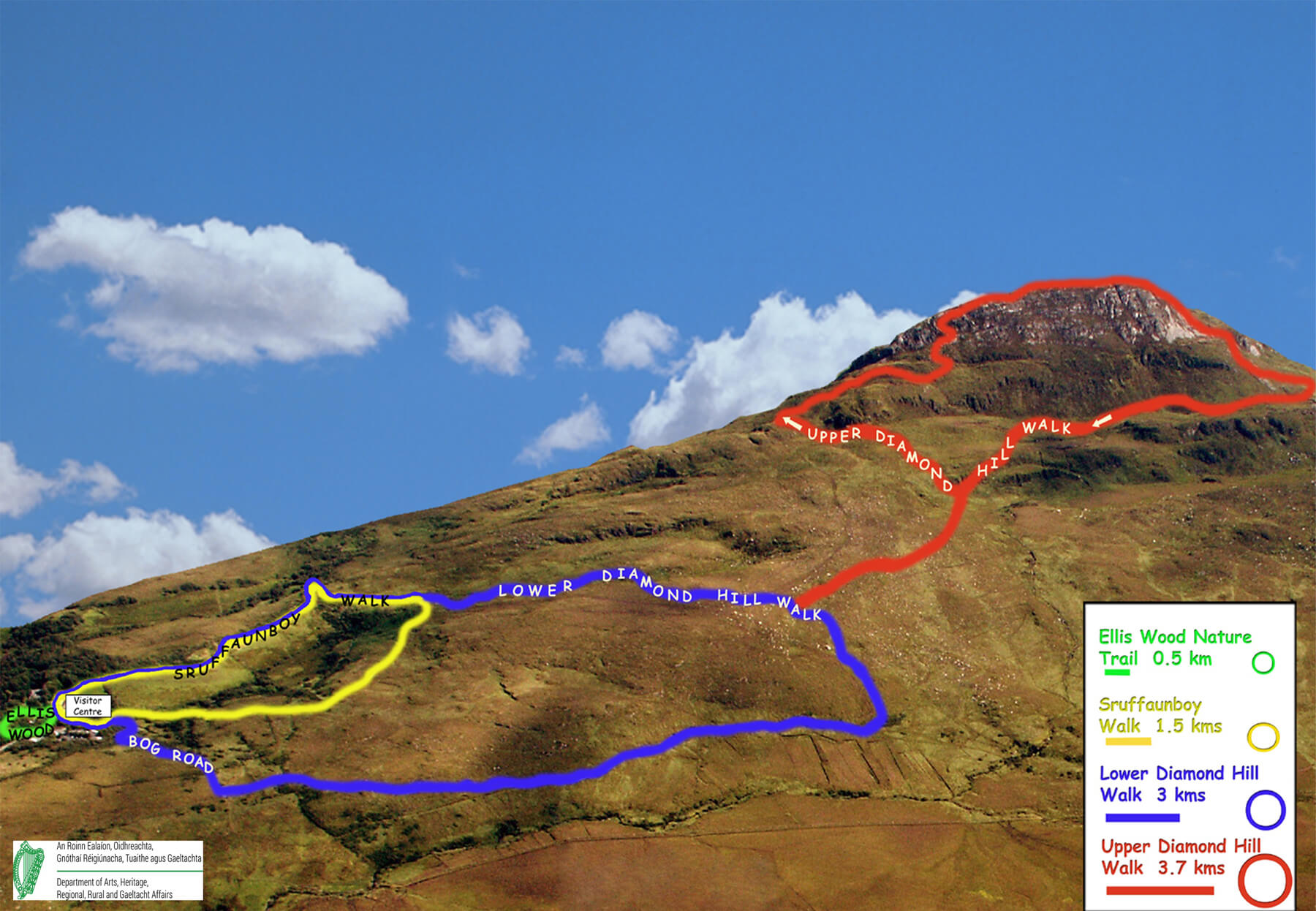 Карта-схема подъема на Алмазный Холм