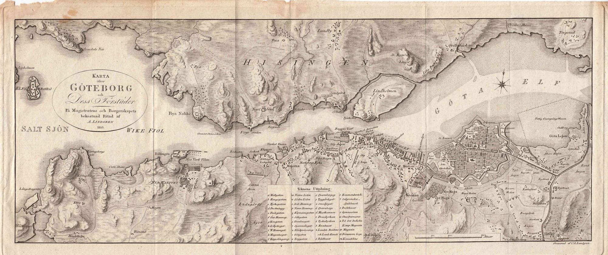 Карта Гетеборга и его пригородов в 1815 году