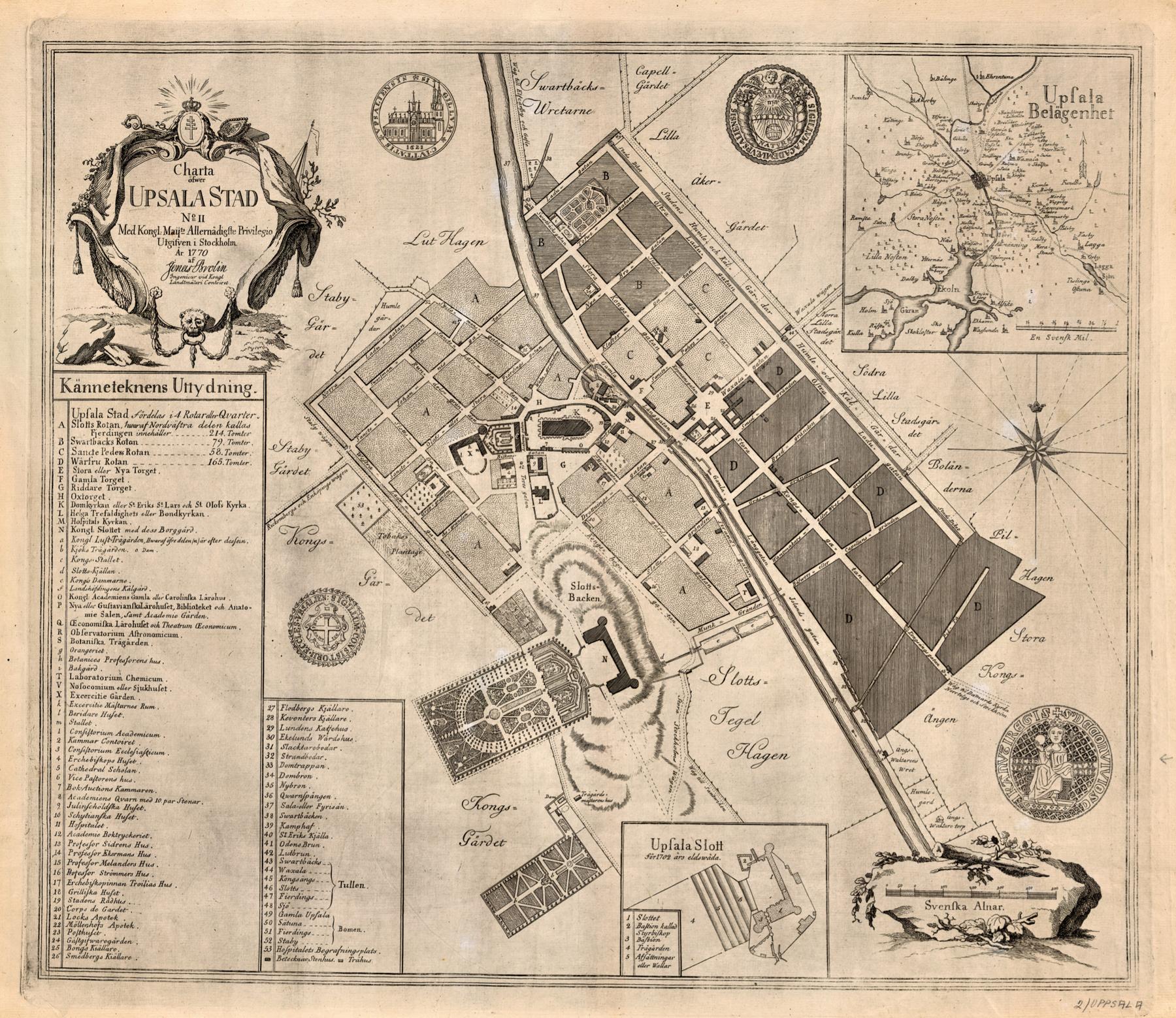 Карта Уппсалы 1770 года