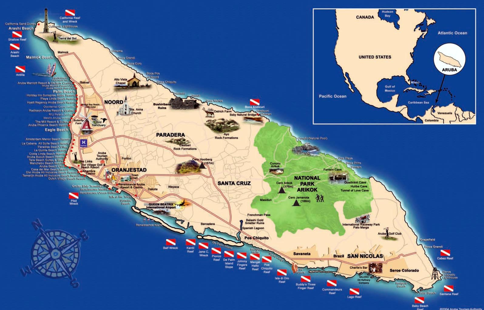 Карта острова Аруба