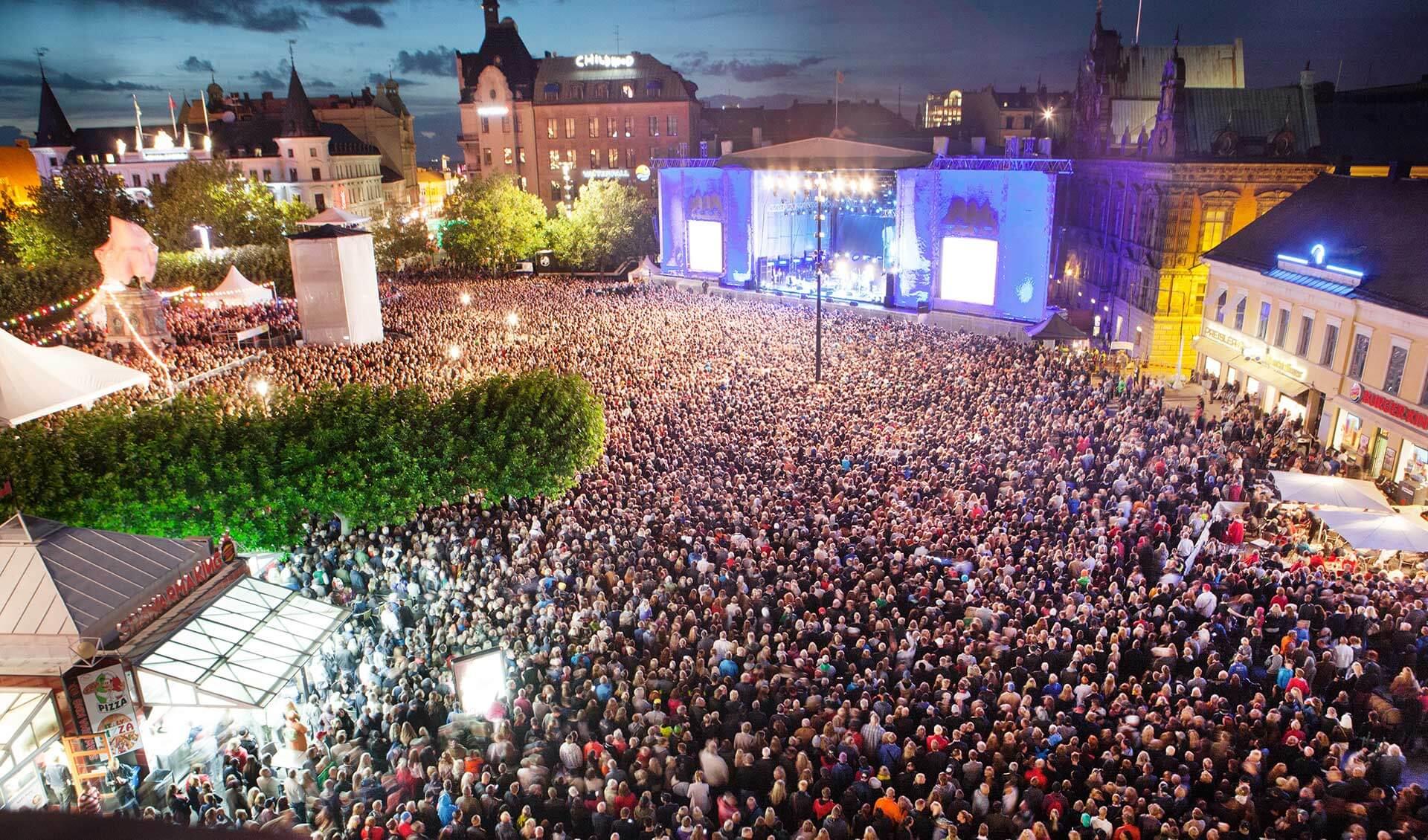 Концерт на площади города Мальмё