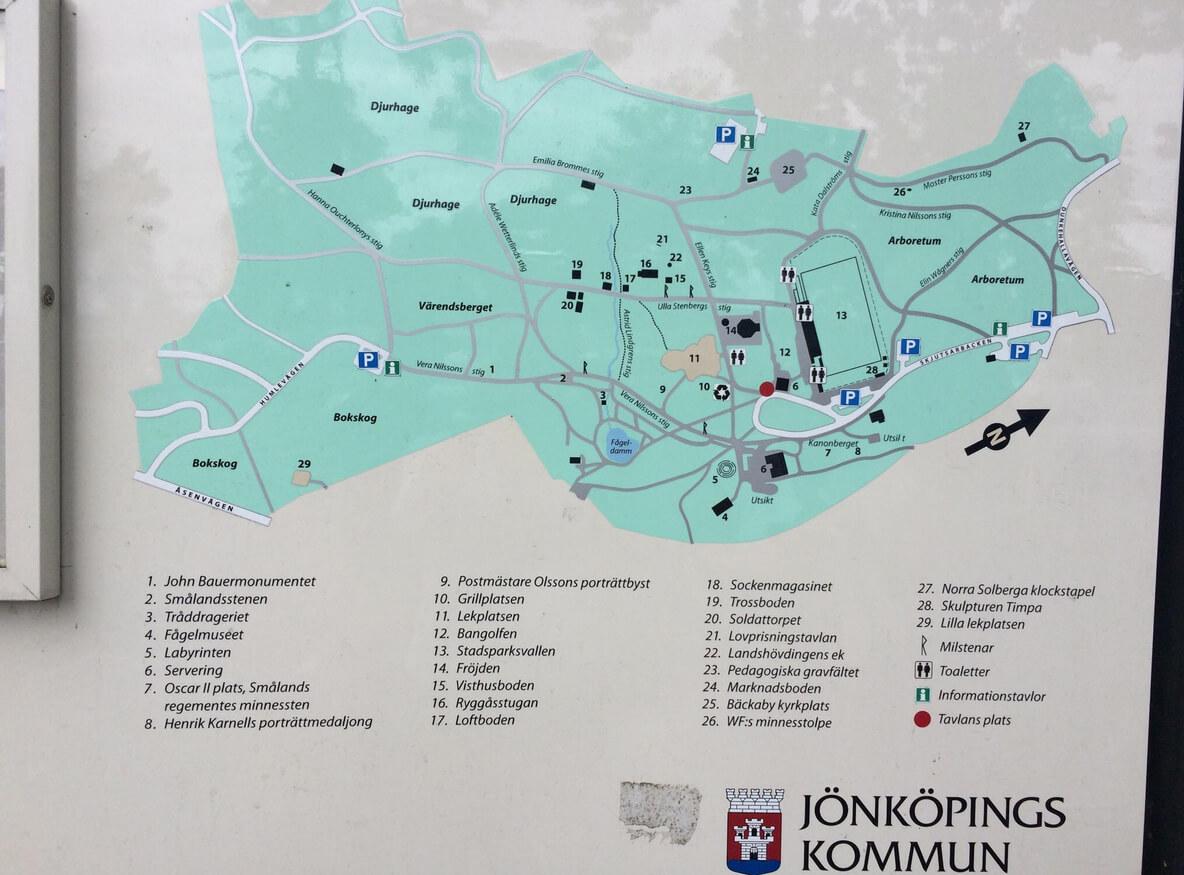Карта парка Jönköpings Stadspark