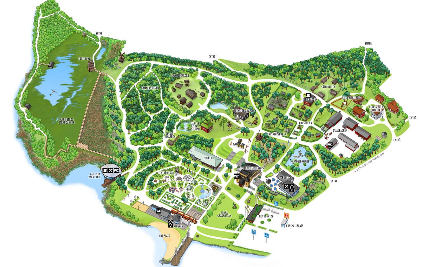 Карта парка «Mariebergsskogen»