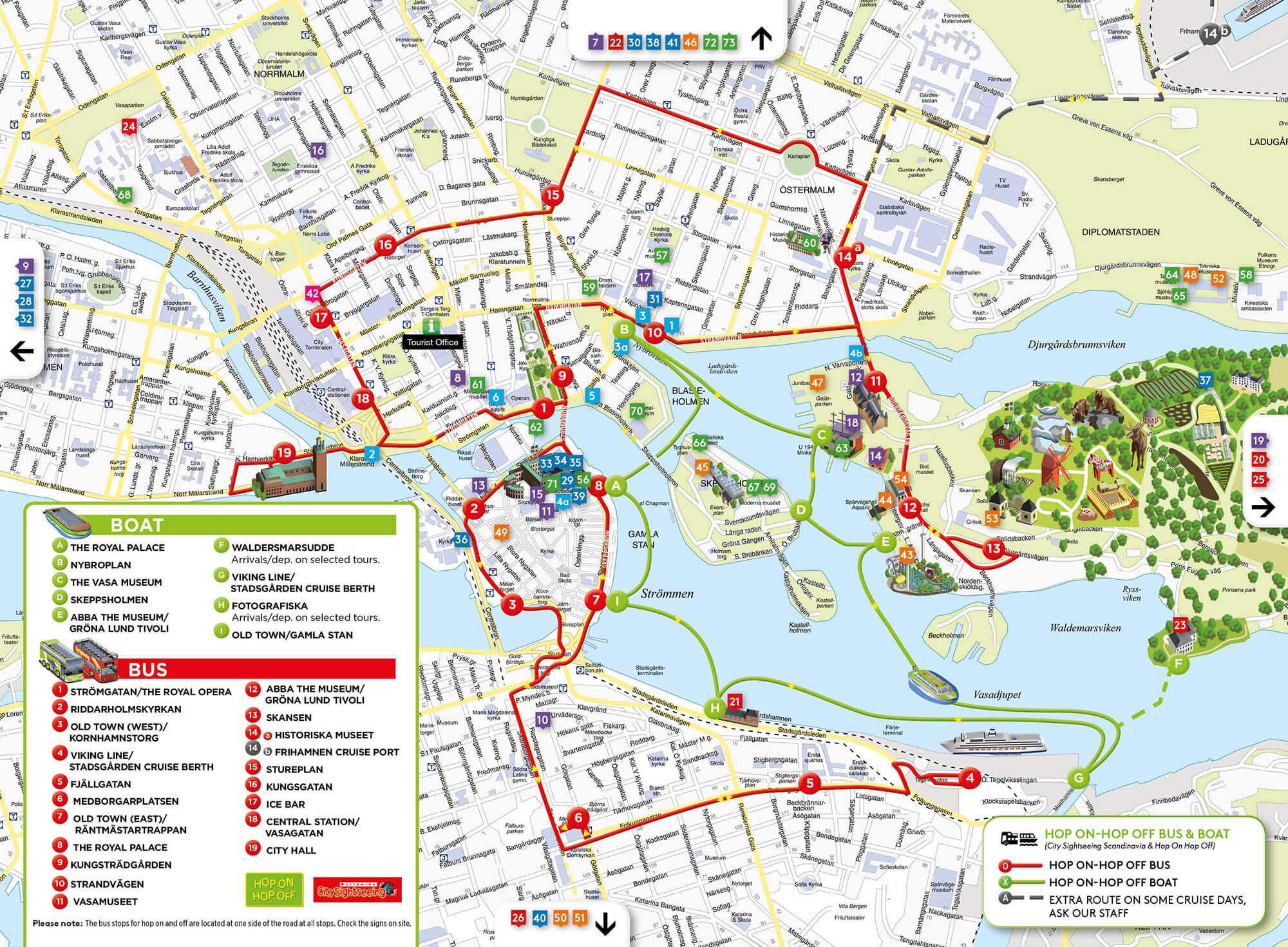 Карта автобусных и лодочные туров