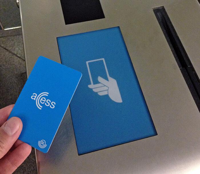 Приложите SL Access card к устройству для чтения карт