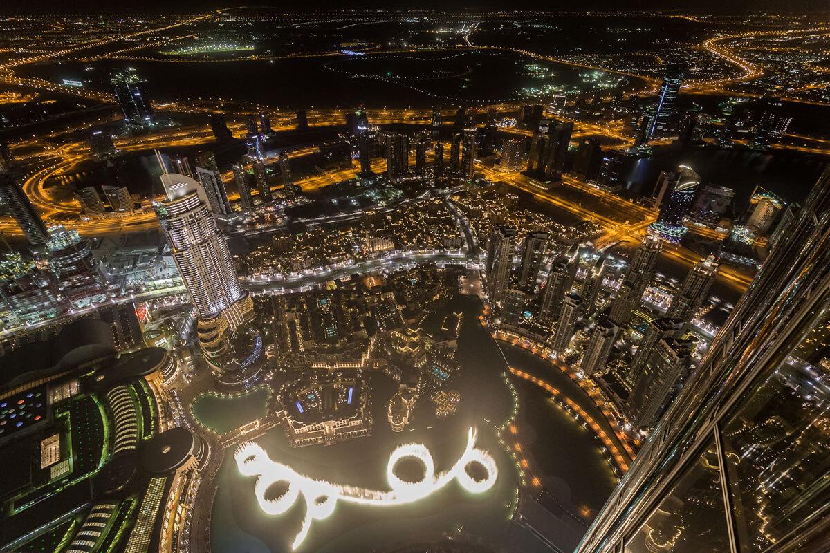 Вид фонтана с башни Burj Khalifa