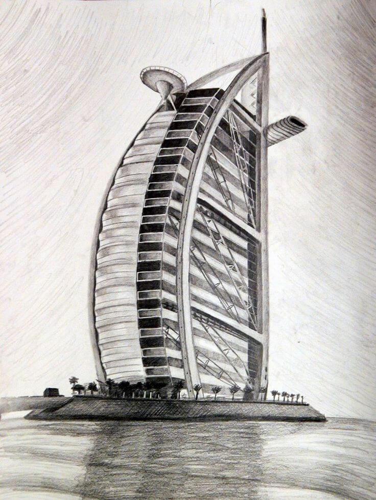 Набросок проекта отеля Бурдж-аль-Араб