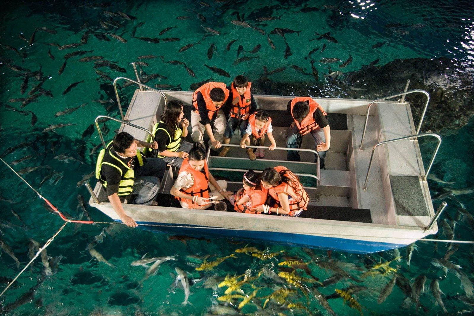 Катание на лодке с прозрачным дном