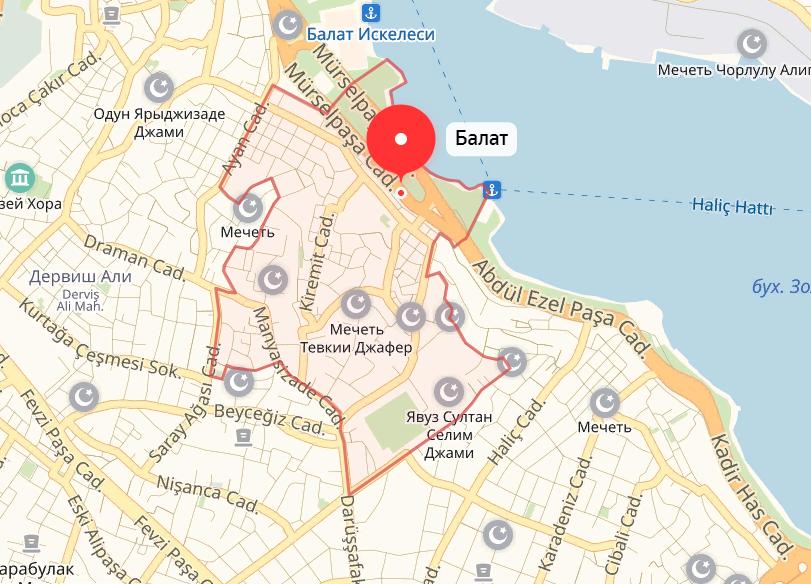 Квартал Балат на карте