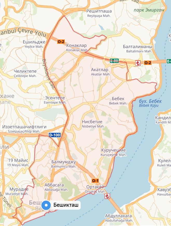 Район Бешикташ на карте Стамбула