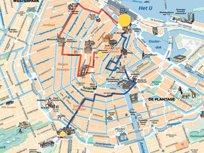 Карта экскурсий по Амстердаму