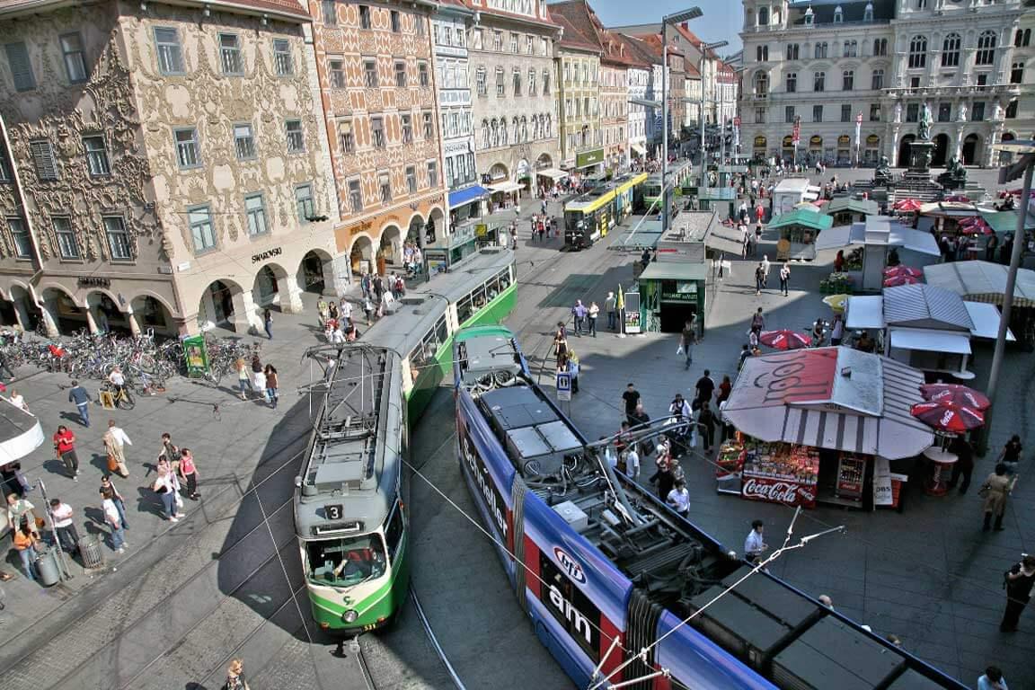 Транспортная развязка главной площади Граца