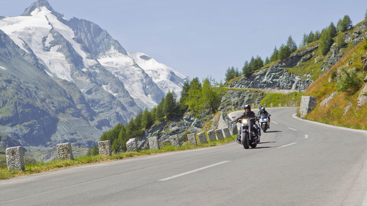 Мотоциклисты на трассе Гроссглокнер