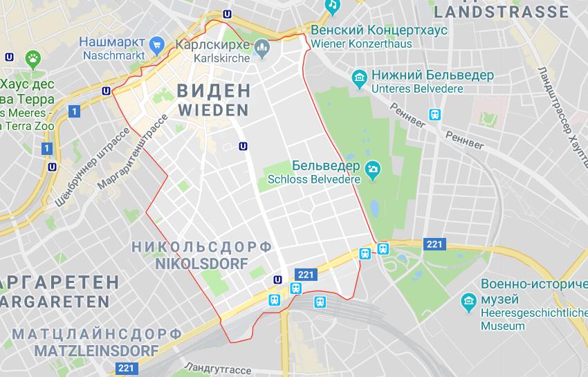Карта района Виден