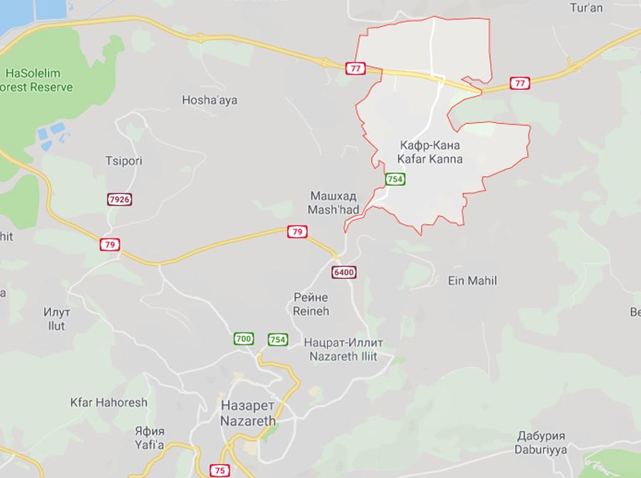 Кана Галилейская на карте