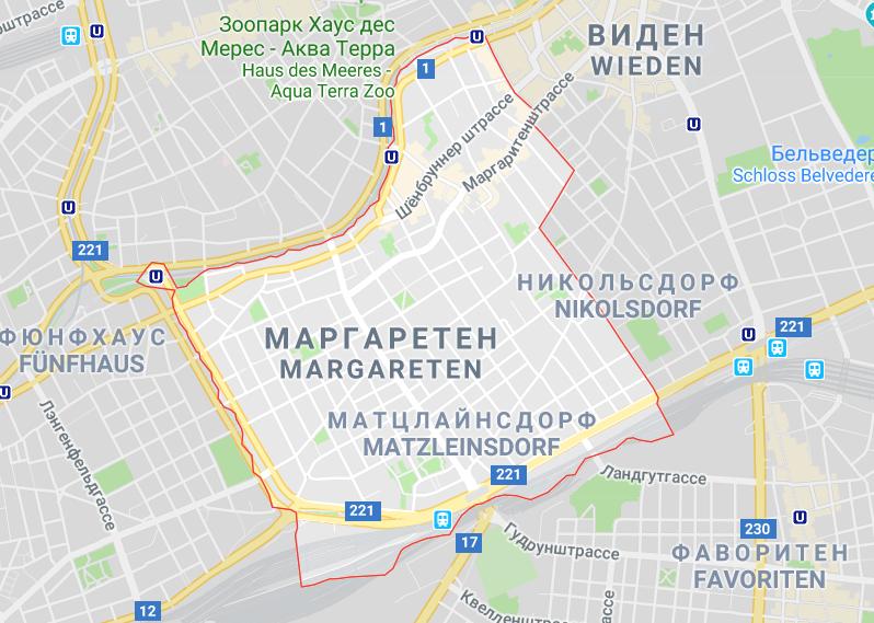 Границы района Маргаретен