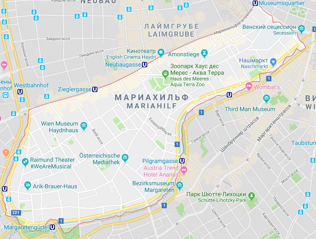 Район Мариахильф на карте
