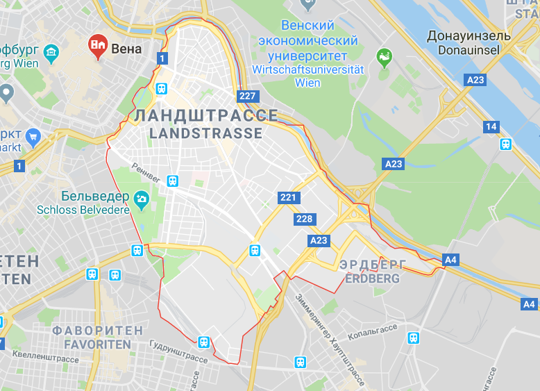 Район Леопольдштрассе на карте