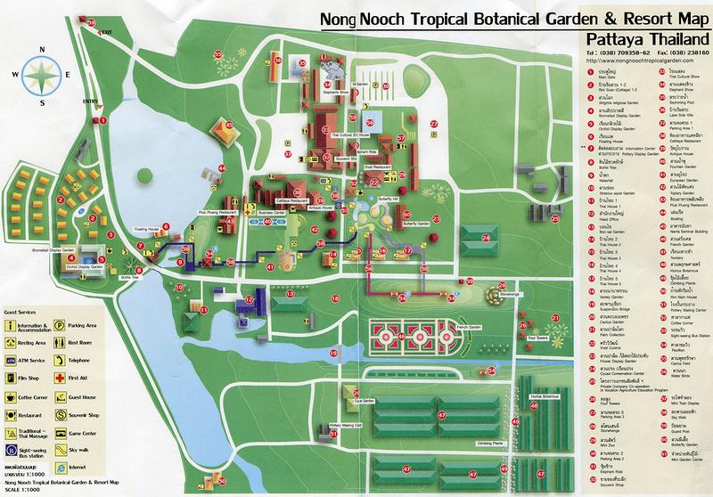 Карта Тропического сада Нонг Нуч