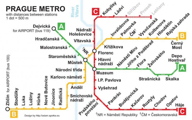 Схема метро в Праге