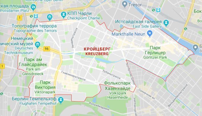Район Кройцберг на карте