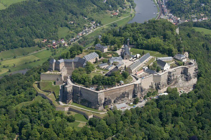 Крепость Кёнигштайн сверху
