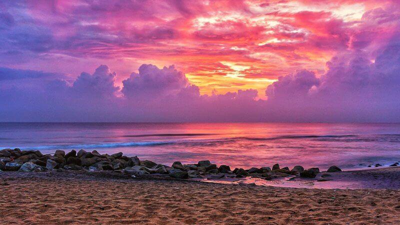 Закат на пляже Варкалы