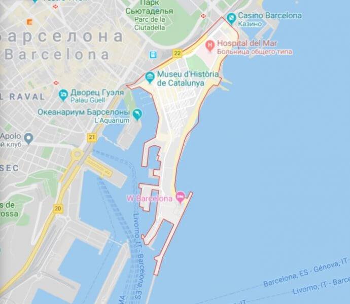 Карта района Барселонетта