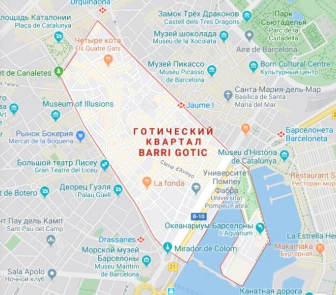 Карта Готического квартала Барселоны