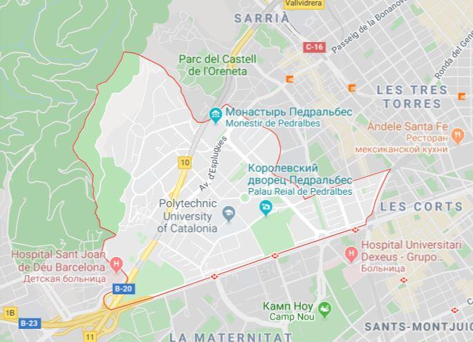 Карта района Педральбес