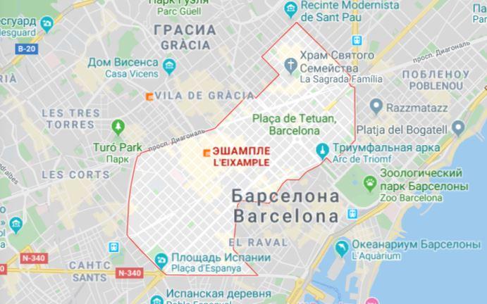 Карта района Эшампле