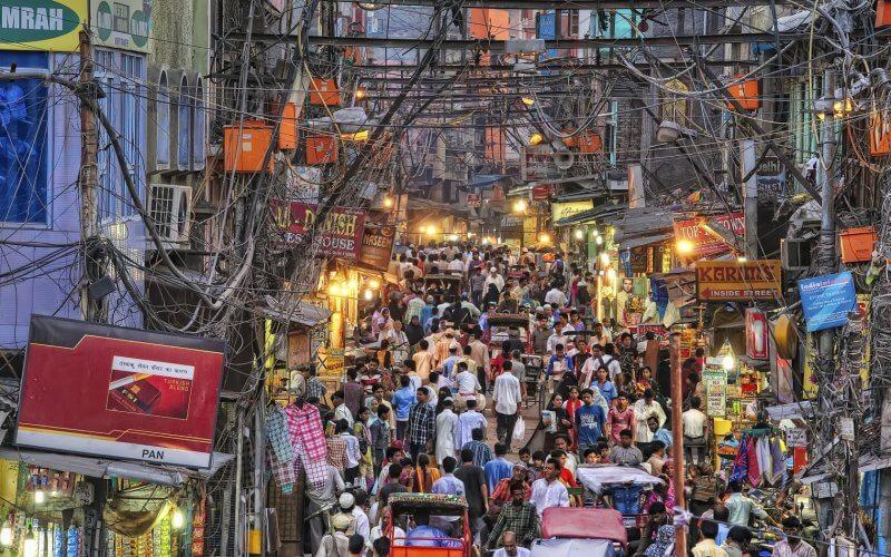 Вид на рынок Чандни Чуок в Нью-Дели
