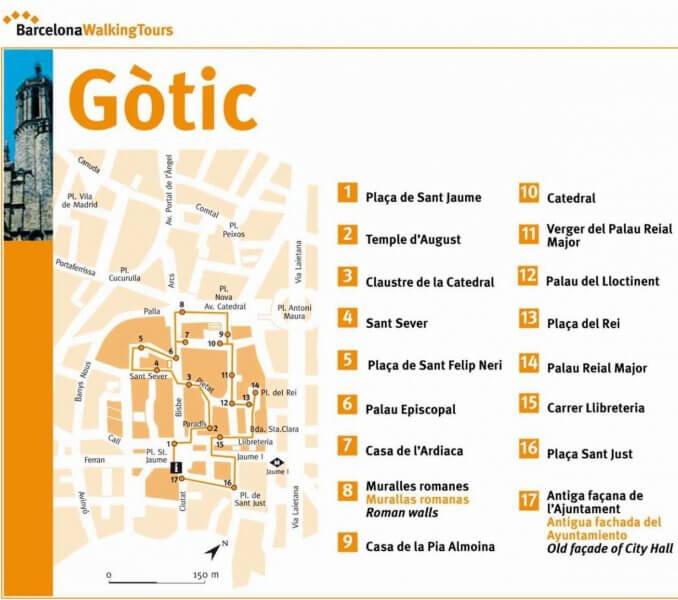 Карта Готического квартала в Барселоне