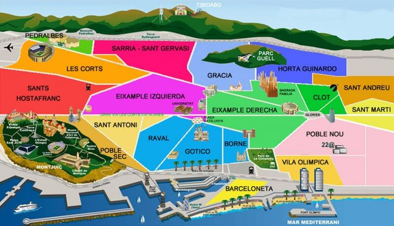 Районы на карте Барселоны