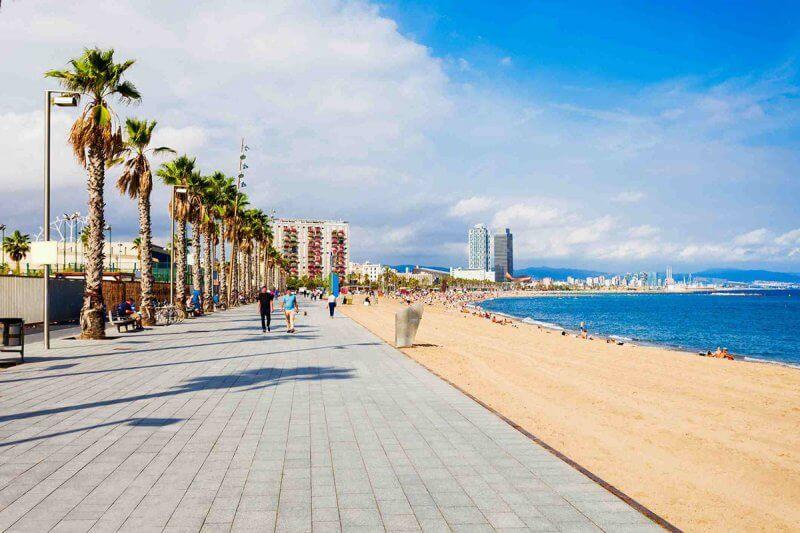Вид на пляж Барселонетта