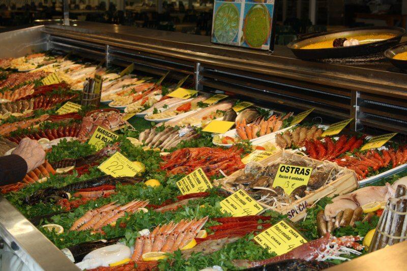 Морепродукты на рынке Кальпе