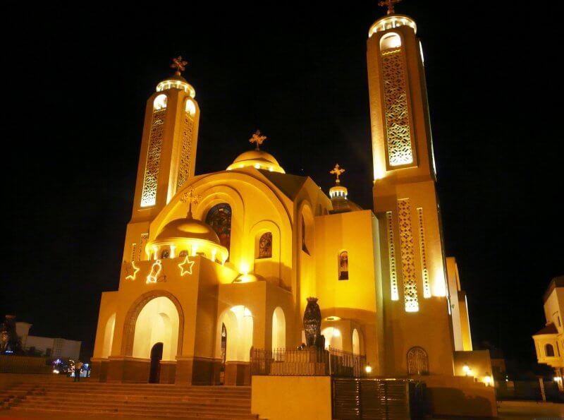 Вид на Коптскую церковь вечером