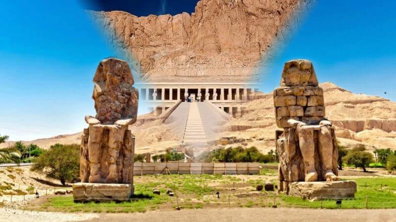 Колоссы Мемнона около разрушенного храма