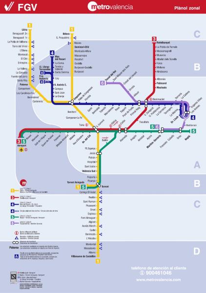 Схема метро в Валенсии
