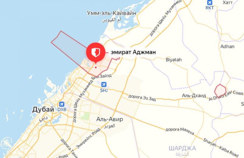 Эмират Аджман на карте