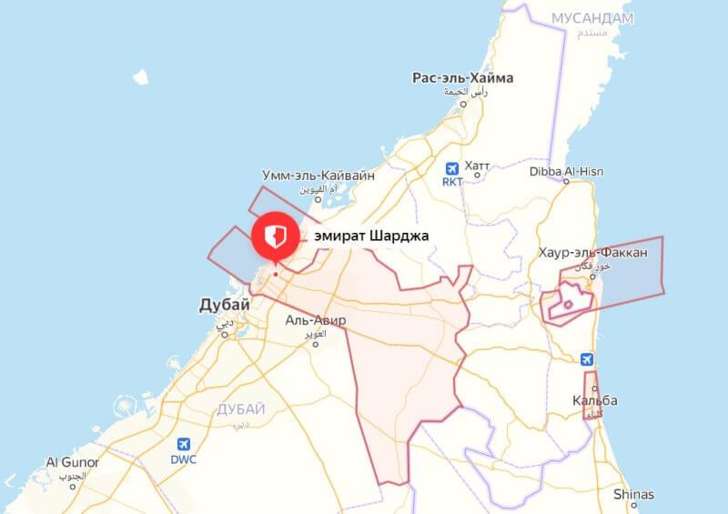 Карта эмирата Шарджа