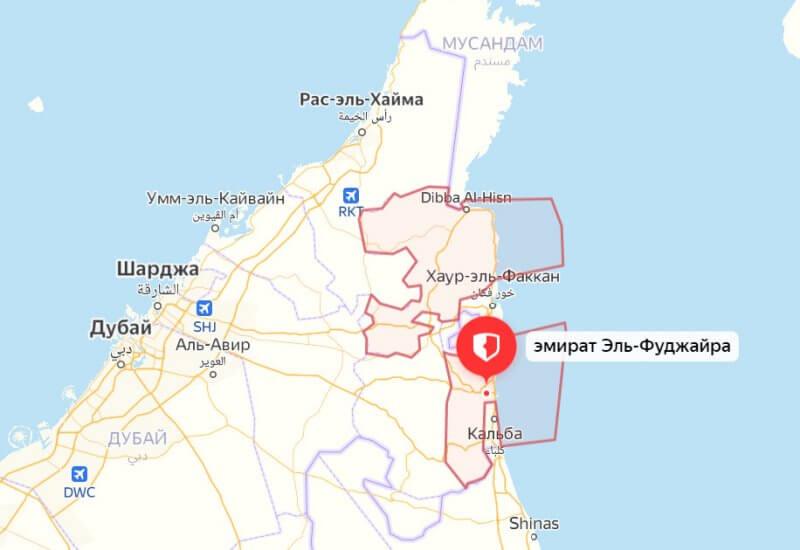 Границы эмирата Фуджайра